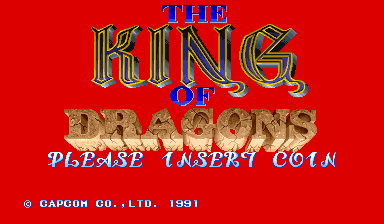 The King of Dragons (Japan 910805, B-Board 90629B-3) Title Screen