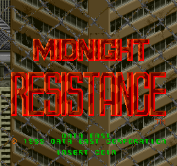 Midnight Resistance (World) Title Screen