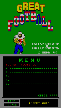Great Football (Mega-Tech, SMS based) Title Screen