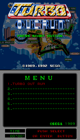 Turbo Outrun (Mega-Tech) Title Screen