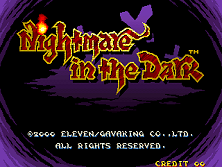 Nightmare in the Dark Title Screen