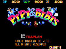 Pipi & Bibis / Whoopee!! (Z80 sound cpu, set 1) Title Screen
