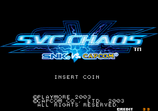 SNK vs. Capcom - SVC Chaos (JAMMA PCB, set 1) Title Screen