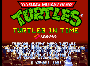 Teenage Mutant Hero Turtles - Turtles in Time (2 Players ver EBA) Title Screen