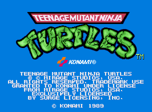 Teenage Mutant Ninja Turtles (World 4 Players, version X) Title Screen