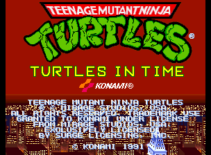 Teenage Mutant Ninja Turtles - Turtles in Time (4 Players ver UAA) Title Screen
