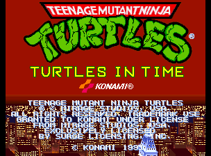 Teenage Mutant Ninja Turtles - Turtles in Time (2 Players ver UDA) Title Screen