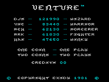 Venture (version 5 set 1) Title Screen