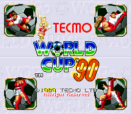 Tecmo World Cup '90 (Euro set 2) Title Screen