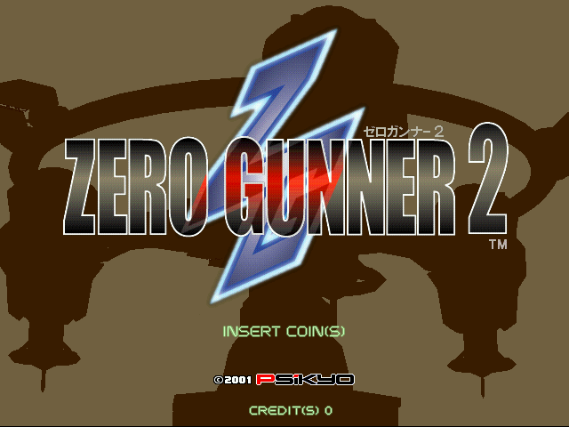 Zero Gunner 2 Title Screen