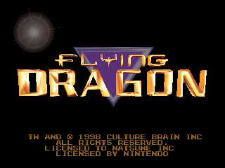 Flying Dragon (Europe) Title Screen