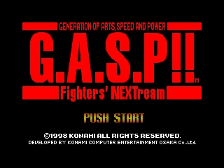 G.A.S.P!! Fighters' NEXTream (Japan) Title Screen