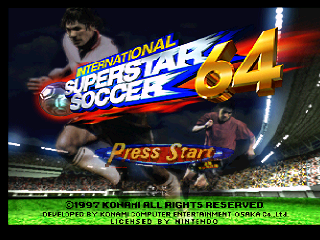 International Superstar Soccer 64 (Europe) Title Screen