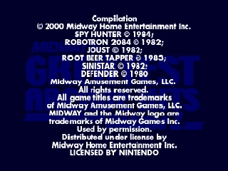 Midway's Greatest Arcade Hits Vol. 1 (USA) Title Screen
