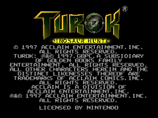 Turok - Dinosaur Hunter (Germany) Title Screen