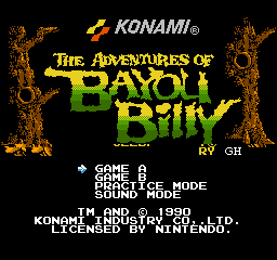 Adventures of Bayou Billy, The (Europe) Title Screen