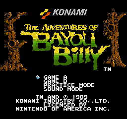 Adventures of Bayou Billy, The (USA) Title Screen