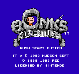 Bonk's Adventure (USA) Title Screen