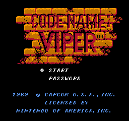 Code Name - Viper (USA) Title Screen