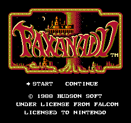 Faxanadu (USA) Title Screen