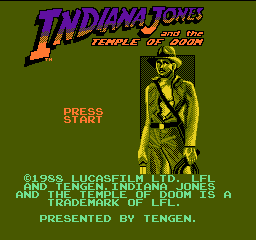 Indiana Jones and the Temple of Doom (USA) (Unl) Title Screen