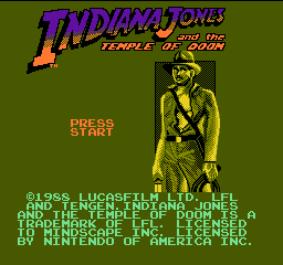 Indiana Jones and the Temple of Doom (USA) Title Screen