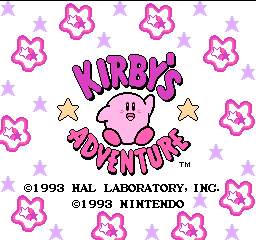 Kirby's Adventure (Europe) Title Screen
