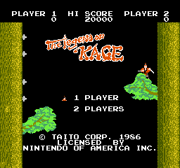 Legend of Kage, The (USA) Title Screen