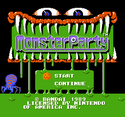 Monster Party (USA) Title Screen