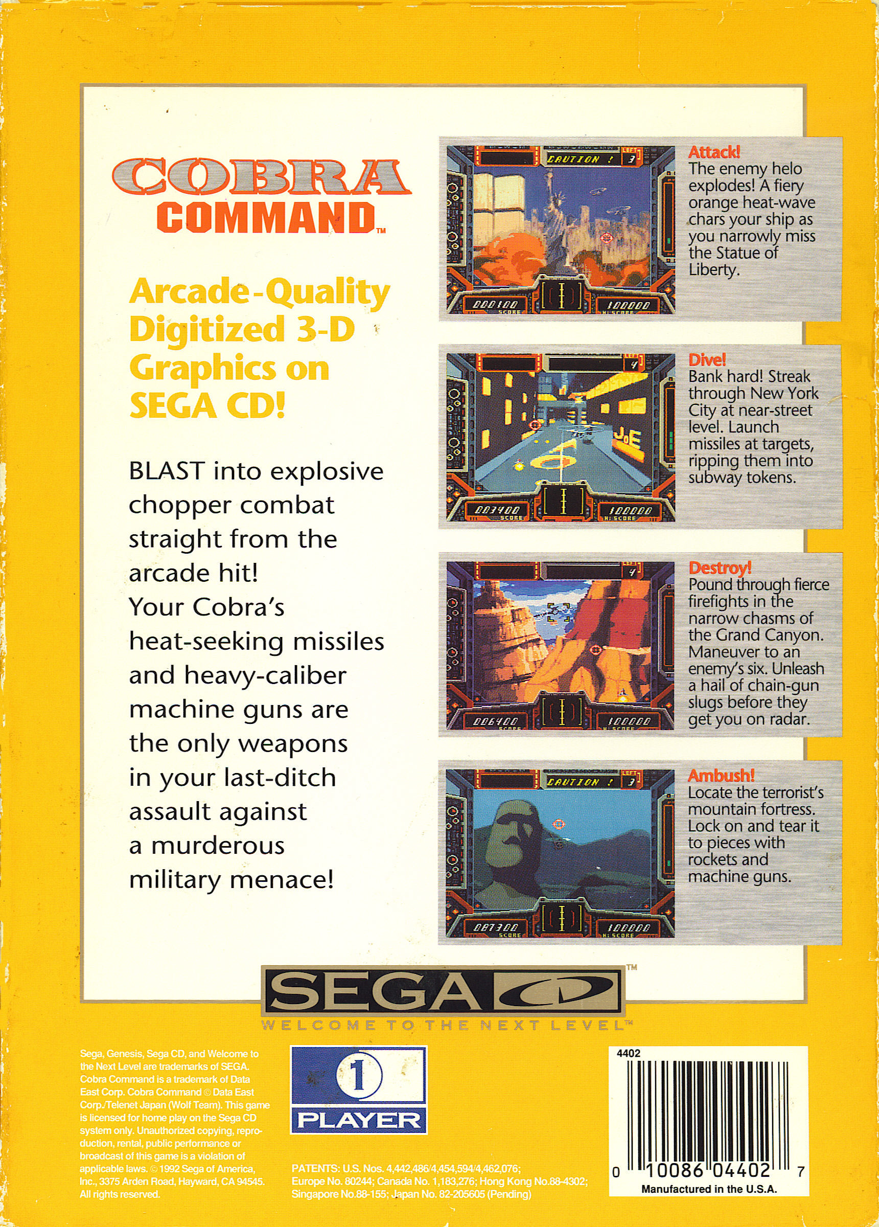 Cobra Command (U) Back Cover