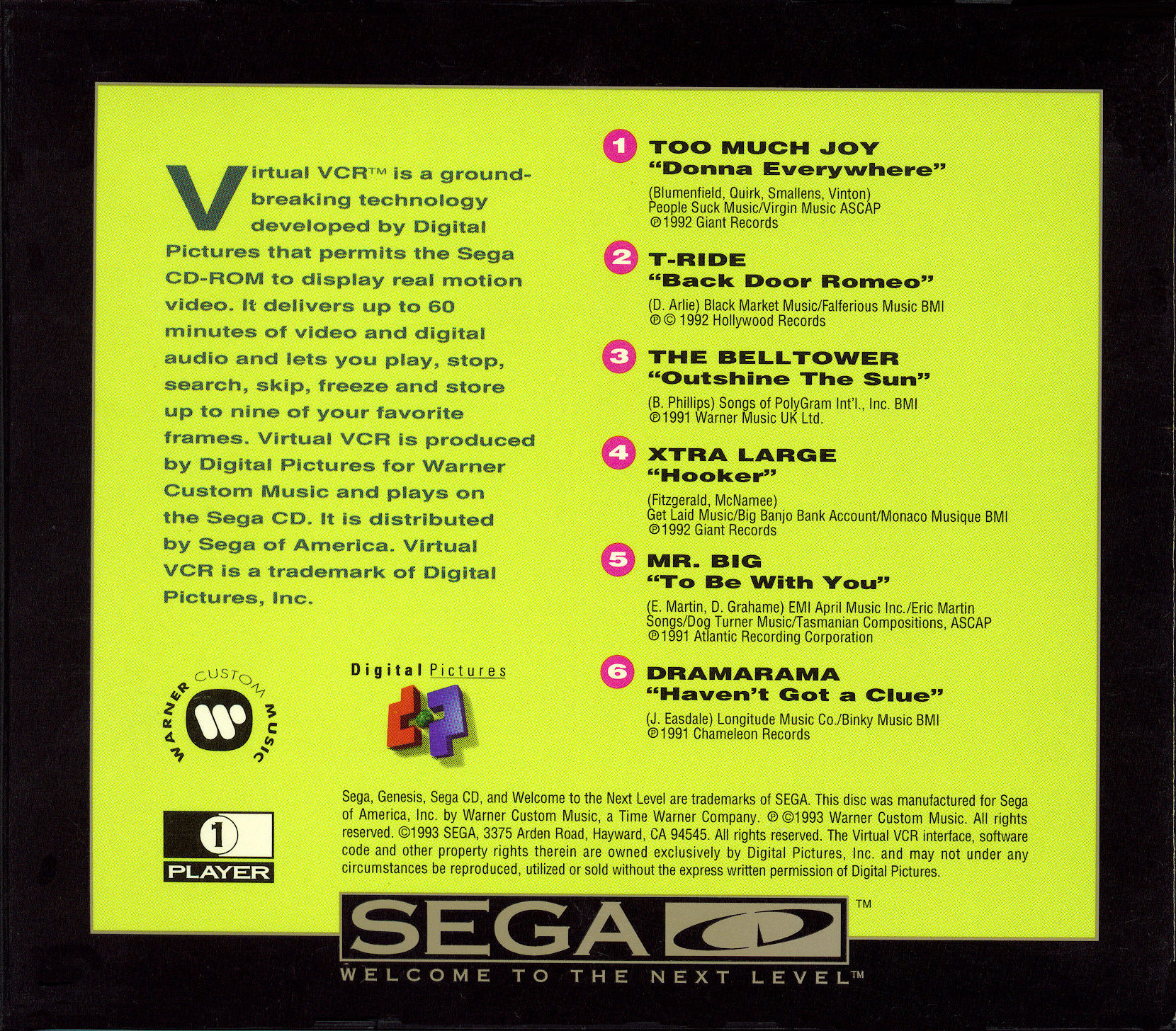 Colors of Modern Rock, The - Virtual VCR (U) Back Cover