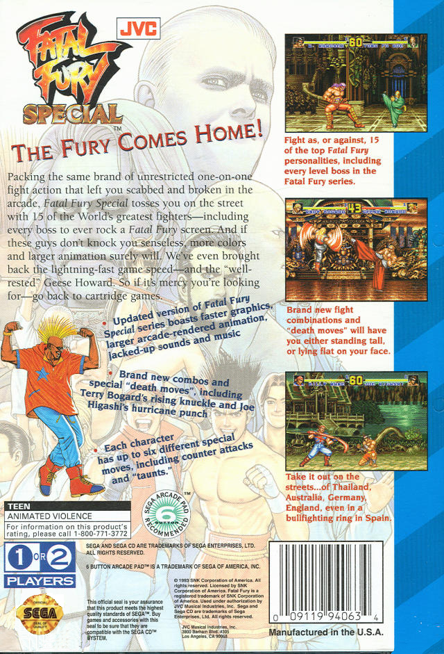 Fatal Fury Special (U) Back Cover