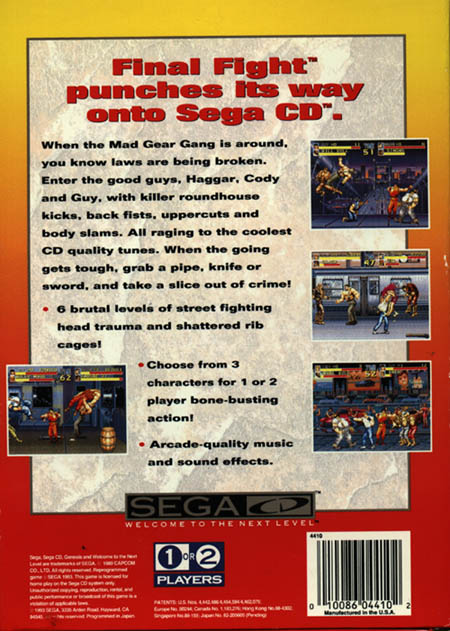Final Fight CD (U) Back Cover