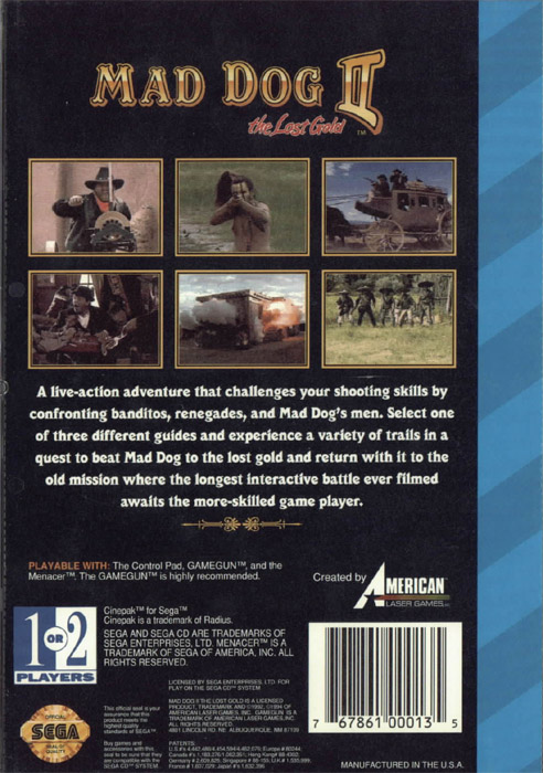 Mad Dog McCree II - The Lost Gold (U) Back Cover