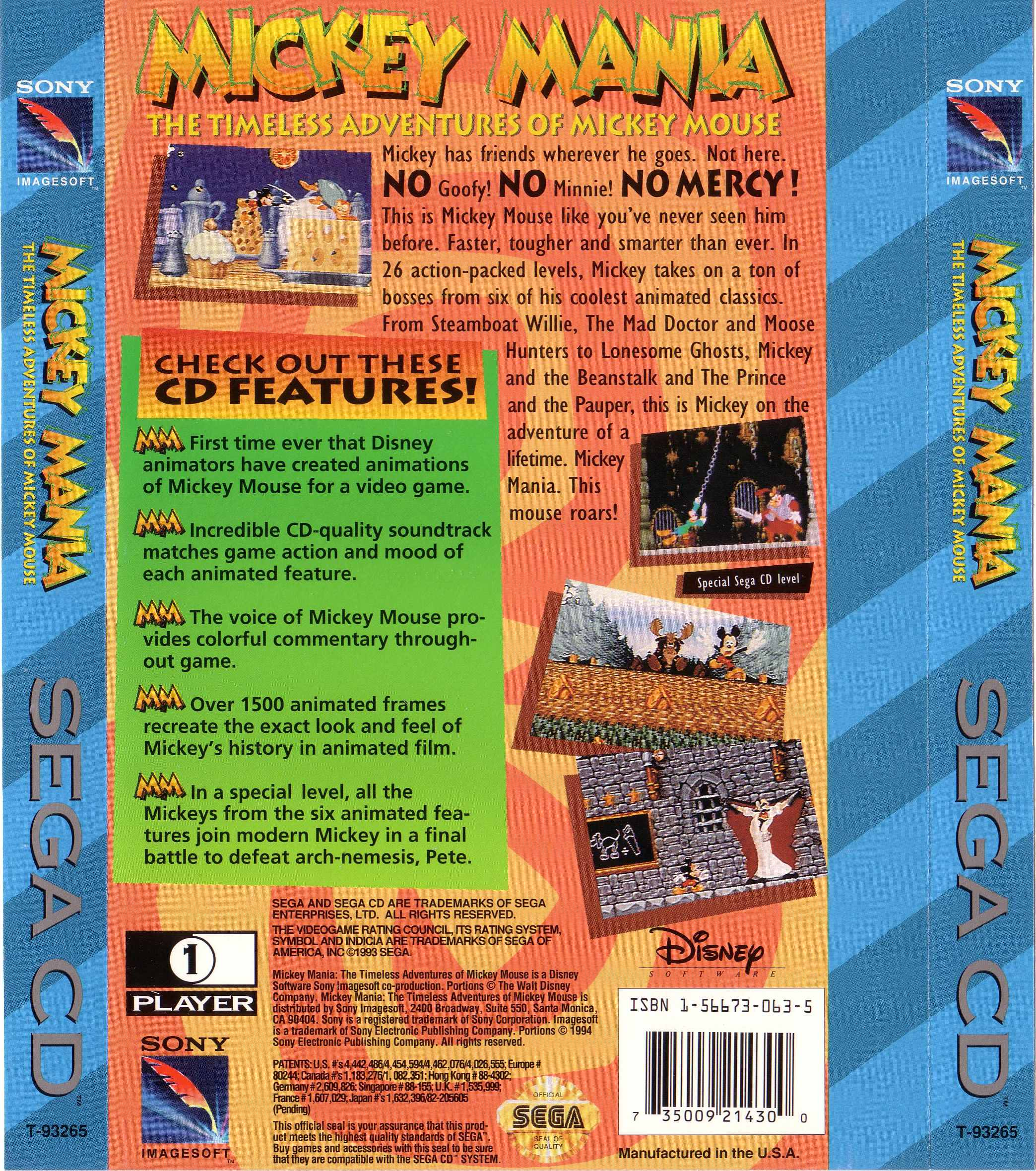 Mickey Mania - The Timeless Adventures Of Mickey Mouse (U) Back Cover