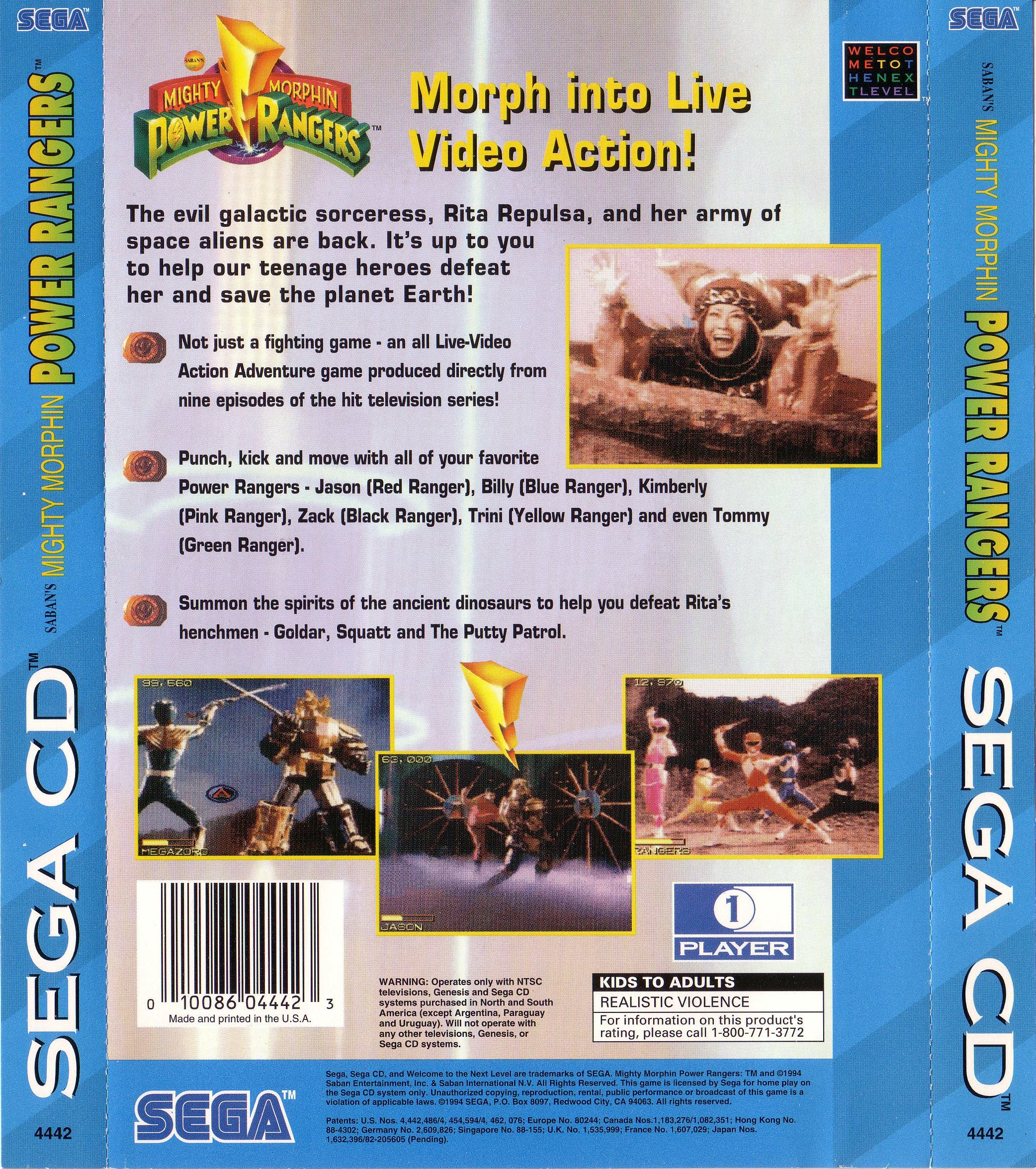 Mighty Morphin Power Rangers (U) Back Cover
