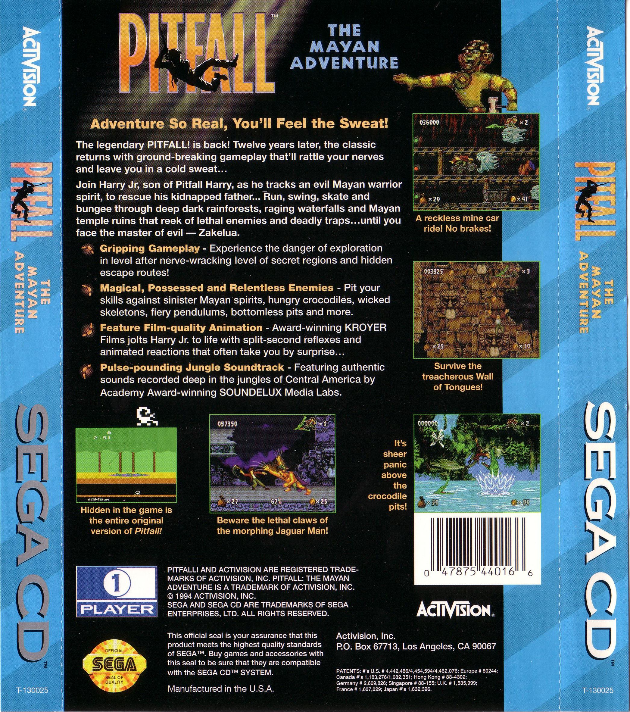 Pitfall - The Mayan Adventure (U) Back Cover