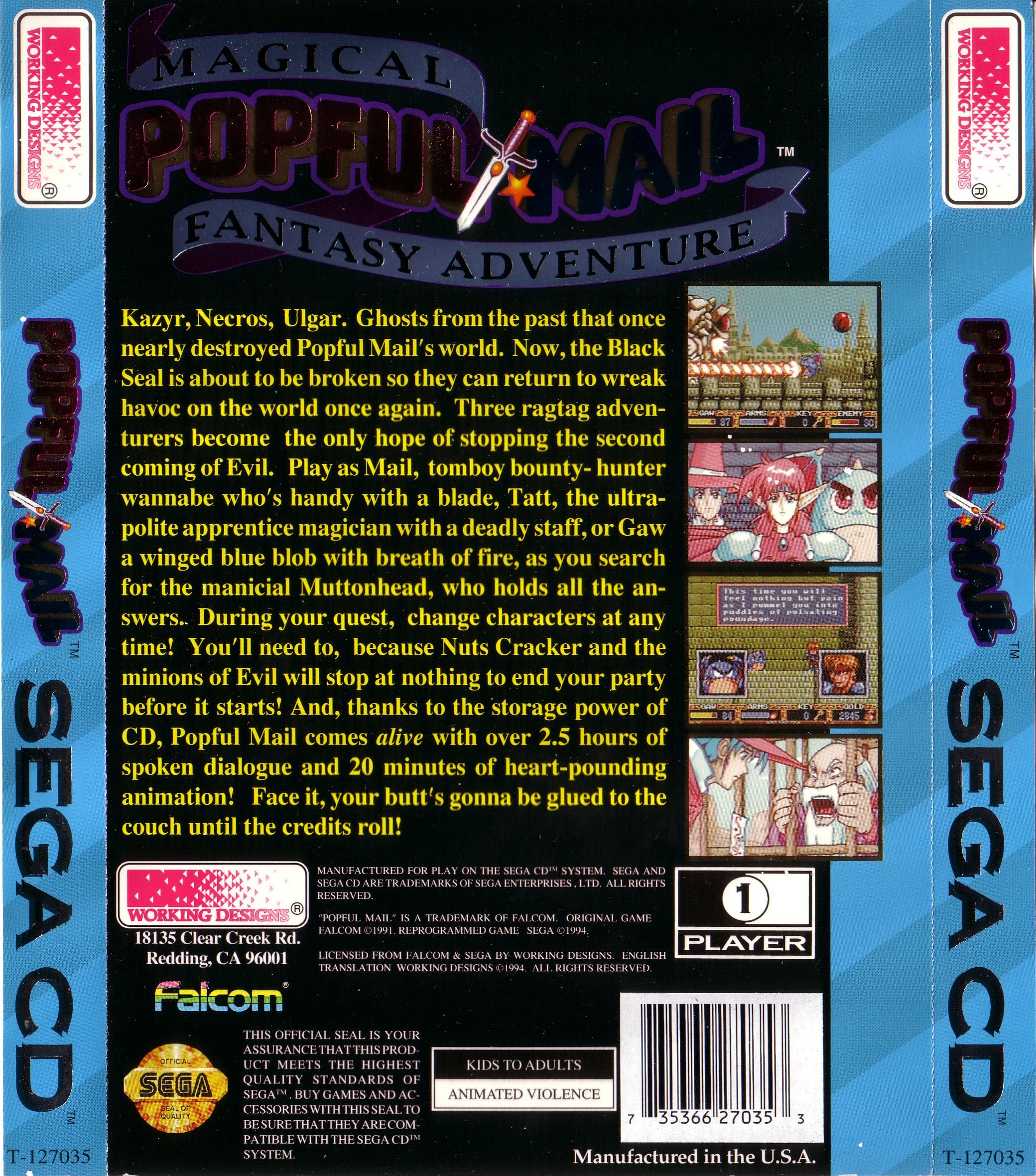 Popful Mail (U) Back Cover