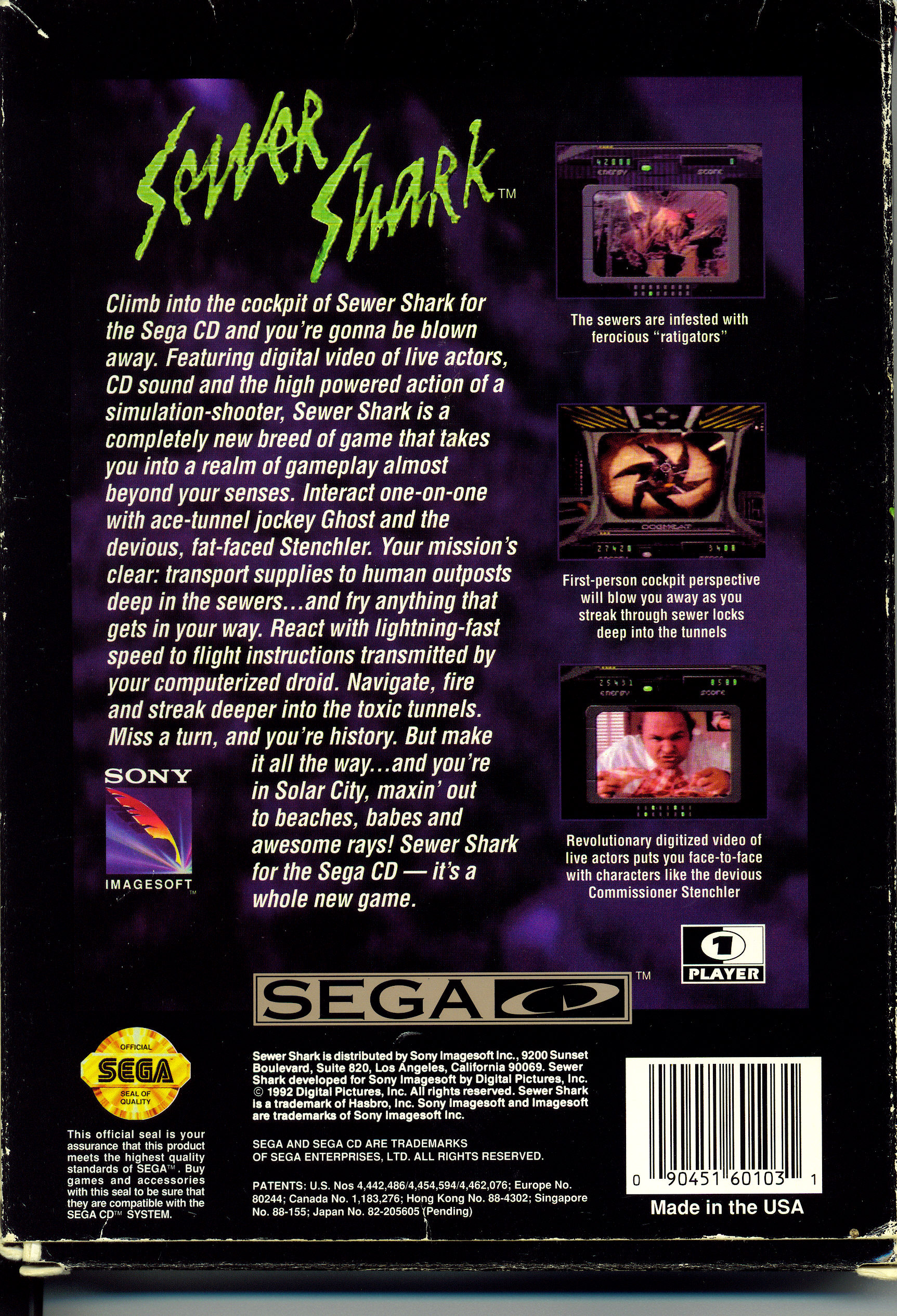 Sewer Shark (U) Back Cover