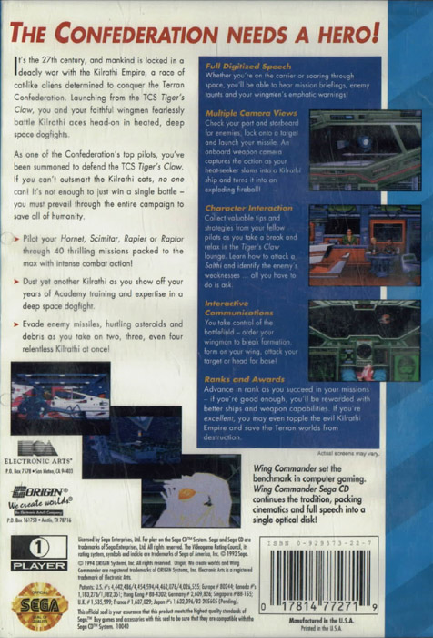 Wing Commander (U) Back Cover