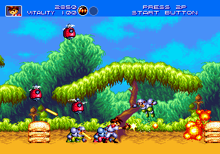 Gunstar Heroes (USA) In game screenshot