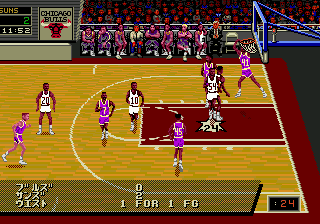 NBA Pro Basketball '94 (Japan) In game screenshot