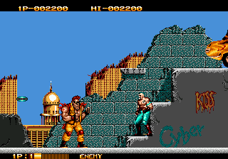 Two Crude Dudes (USA) In game screenshot