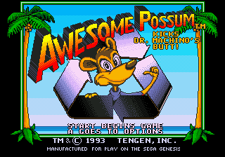 Awesome Possum (USA) Title Screen