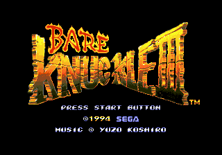 Bare Knuckle III (Japan) Title Screen