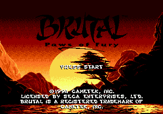 Brutal - Paws of Fury (USA) Title Screen