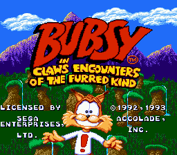 Bubsy in Claws Encounters of the Furred Kind (USA, Europe) Title Screen