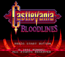 Castlevania - Bloodlines (USA) Title Screen