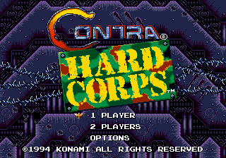 Contra - Hard Corps (USA) Title Screen