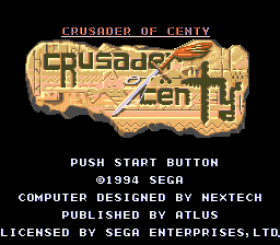 Crusader of Centy (USA) Title Screen